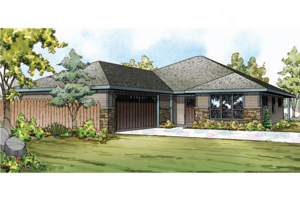 Prairie Style House Plan - Oakdale 30-881 - Front Elevation