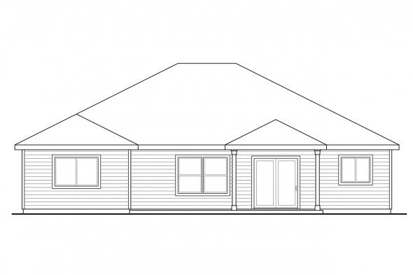 Prairie Style House Plan - Whittaker 30-845 - Rear Elevation