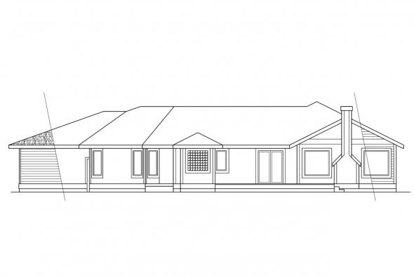Ranch Home Plan - Wateridge 10-144 - Rear Elevation