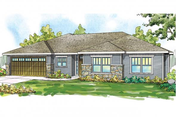 Ranch House Plan - Lake Creek 30-819 - Front Elevation