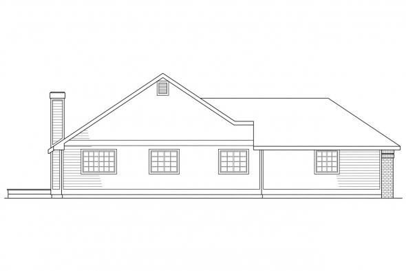 Ranch House Plan - Akron 10-038 - Left Elevation