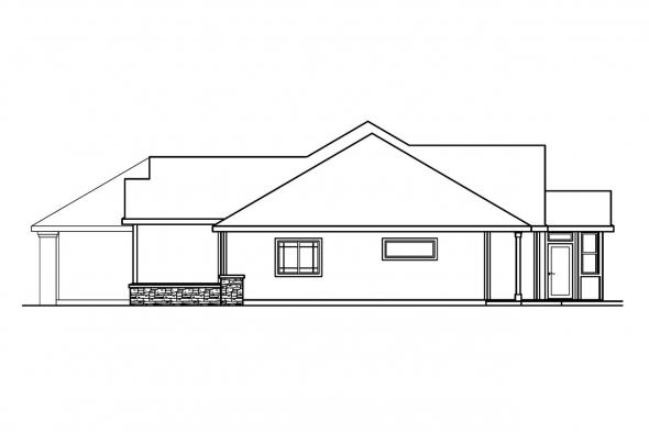 Ranch House Plan - Bennett 30-281 - Right Elevation