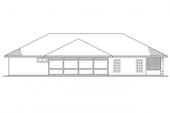 Ranch House Plan - Bryant 11-024 - Rear Elevation