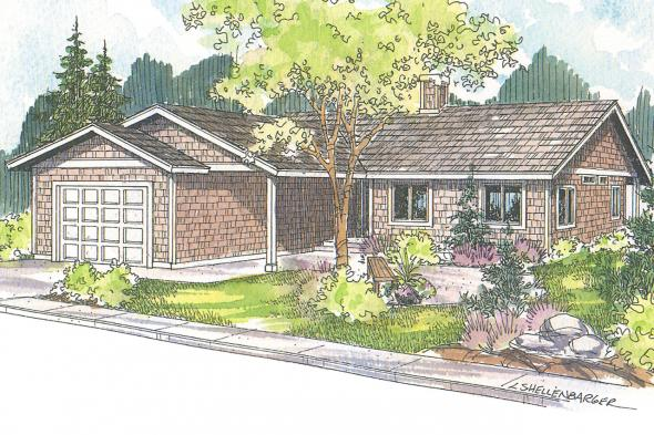 Ranch House Plan - Connelly 30-375 - Front Elevation