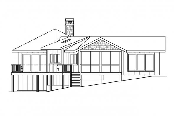 Ranch House Plan - Edgewater 10-578 - Left Elevation