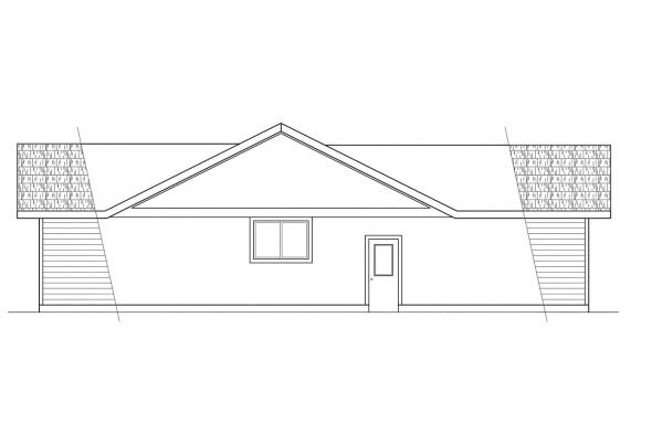Ranch House Plan - Evanston 10-112 - Left Elevation