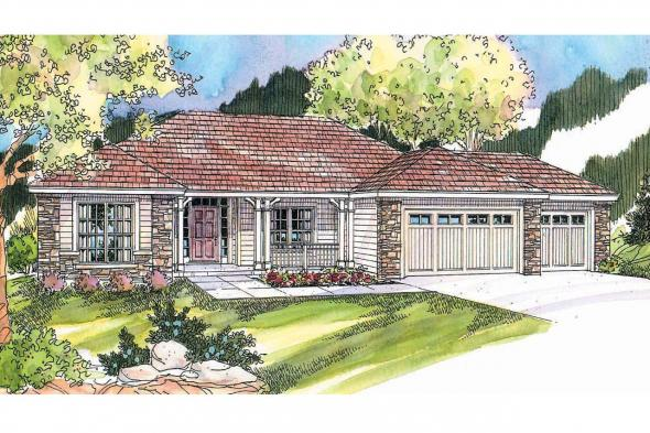 Ranch House Plan - Fieldstone 30-607 - Front Elevation