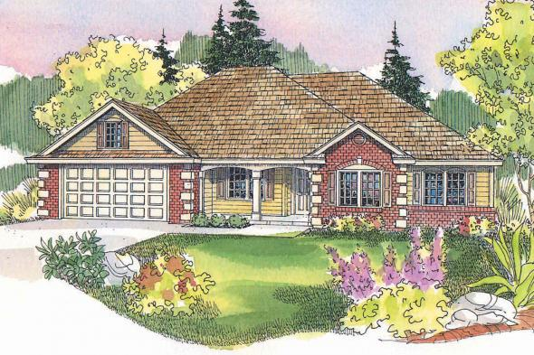 Ranch House Plan - Finley 30-364 - Front Elevation