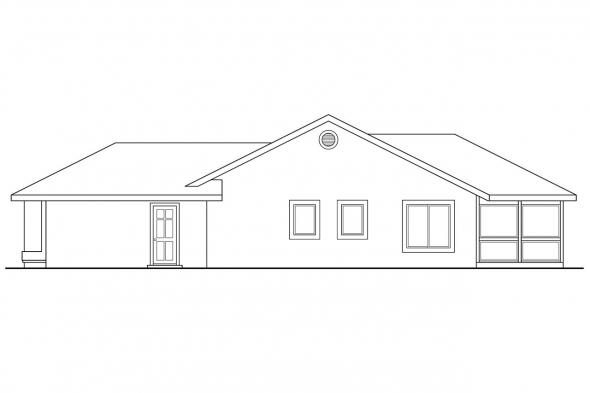Ranch House Plan - Florosa 11-090 - Right Elevation