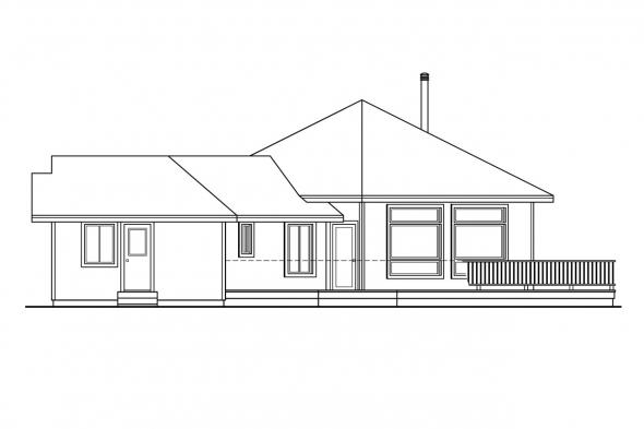 Ranch House Plan - Forsythia 10-426 - Right Elevation