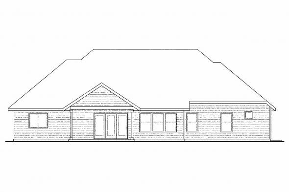 Ranch House Plan - Gladstone 30-786 - Rear Elevation