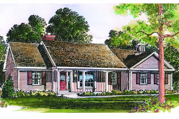 Ranch House Plan - Glenwood 42-015 - Front Elevation
