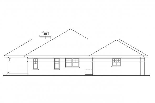 Ranch House Plan - Heartshaven 10-525 - Left Elevation