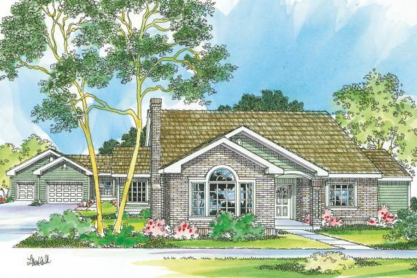 Ranch House Plan - Kinglsey 30-184 - Front Elevation