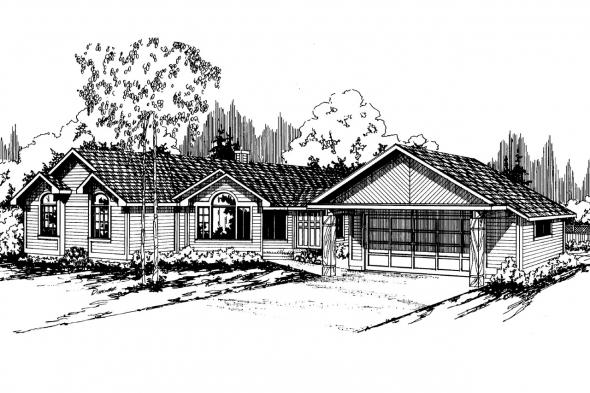 Ranch House Plan - Linwood 10-039 - Front Elevation