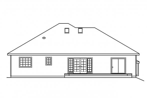 Ranch House Plan - Marlowe 30-362 - Rear Elevation