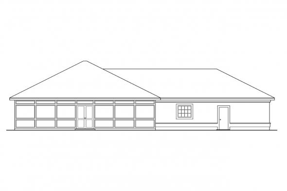 Ranch House Plan - Medina 10-188 - Rear Elevation