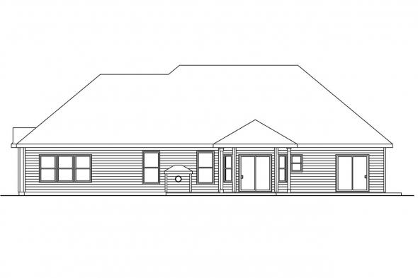 Ranch House Plan - Parkcrest 30-561 - Rear Elevation