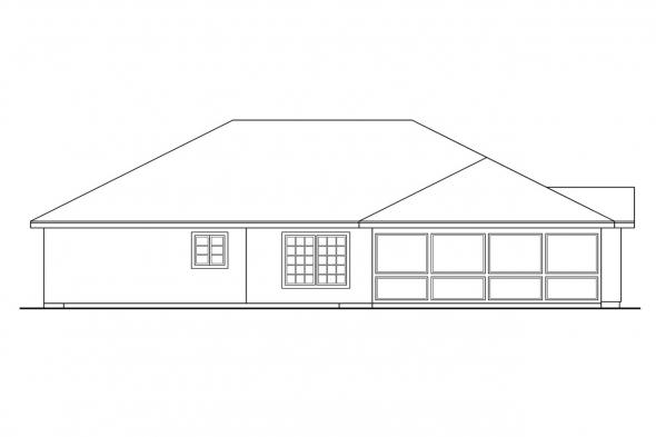 Ranch House Plan - Pereza 11-075 - Rear Elevation