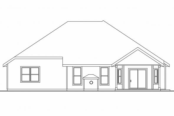 Ranch House Plan - Porterville 30-695 - Rear Elevation