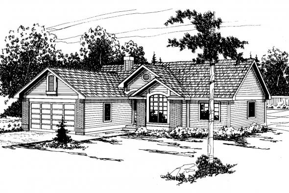 Ranch House Plan - Rexburg 30-068 - Front Elevation