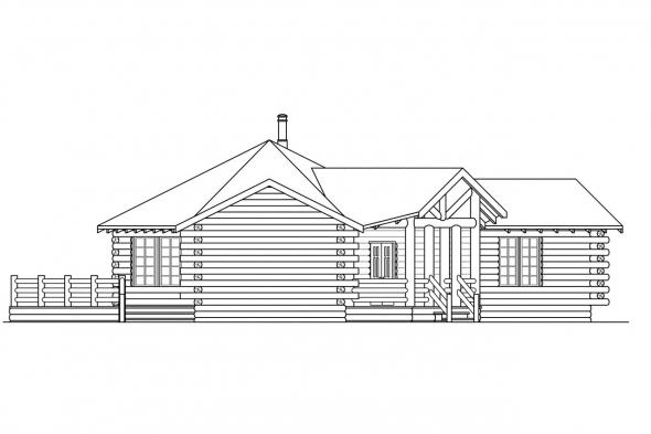 Ranch House Plan - Ridgeline 10-062 - Left Elevation