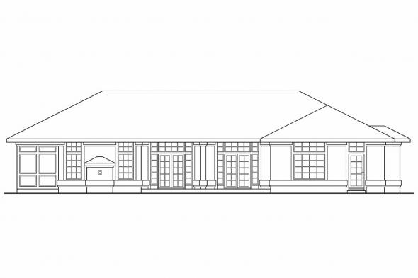 Ranch House Plan - Riveria 11-072 - Rear Elevation