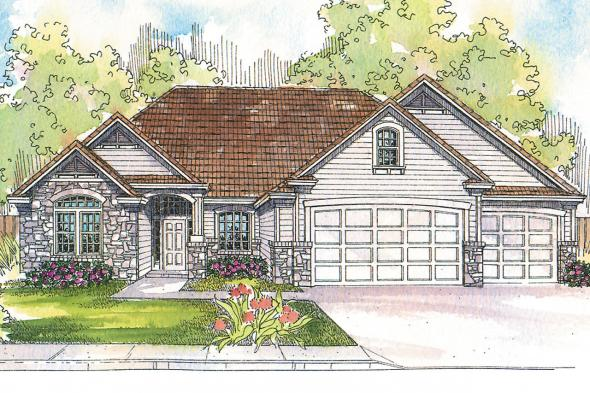 Ranch House Plan - Rosemont 30-376 - Front Elevation