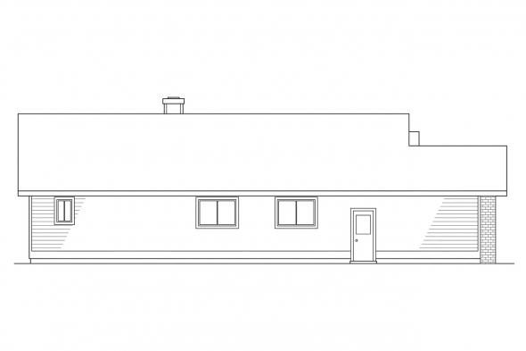 Ranch House Plan - Shelton 10-033 - Left Elevation