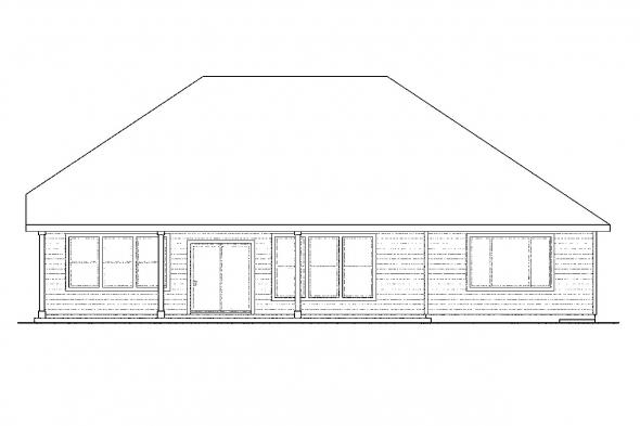 Ranch House Plan - Springbrook 30-805 - Rear Elevation