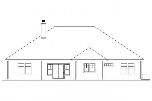 Ranch House Plan - Whitingham 30-501 - Rear Elevation