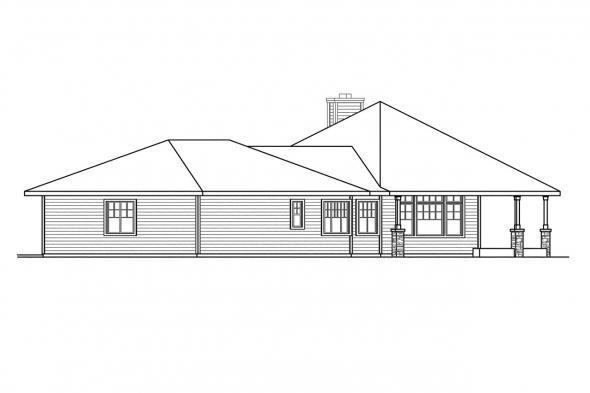 Ranch House Plan - Willow Creek 10-542 - Right Elevation