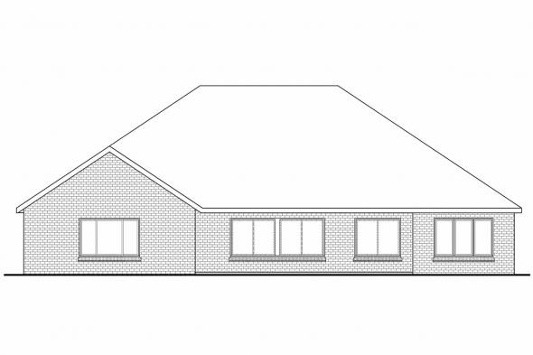 Ranch House Plan - Winterberry 30-742 - Rear Elevation