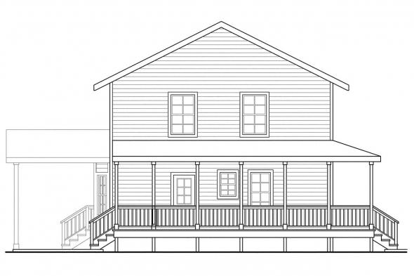 Saltbox House Plan - Green Acres 70-003 - Left Elevation