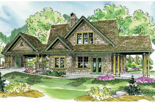 Shingle Style House Plan - Longview 50-014 - Front Elevation