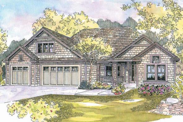 Shingle Style House Plan - Schuyler 30-522 - Front Elevation