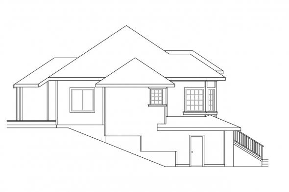Sloped Lot House Plan - Lenox 30-066 - Left Elevation