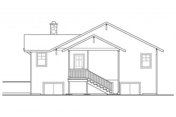 Sloped Lot House Plan - Lone Rock 41-020 - Rear Elevation