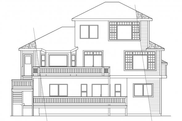 Sloped Lot House Plan - Samuel 30-026 - Rear Elevation