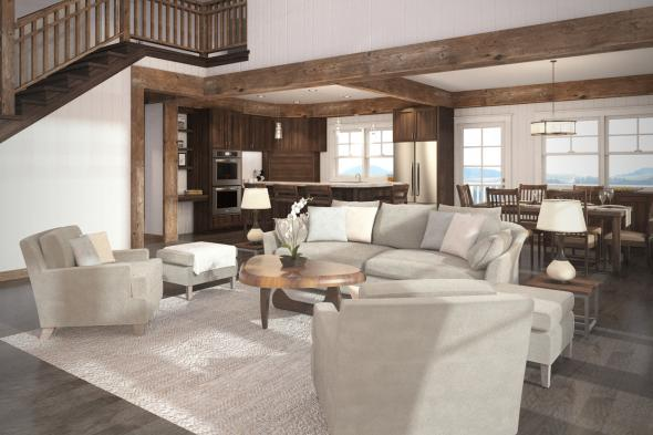 Sloped Lot House Plan - Stratford 30-615 - Living Room