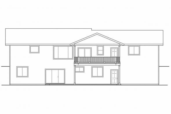 Sloping Lot House Plan - Gatsby 30-664 - Rear Elevation