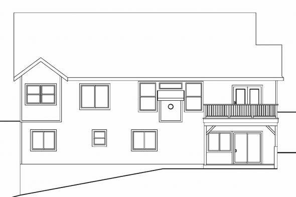 Sloping Lot House Plan - Glendora 30-686 - Rear Elevation