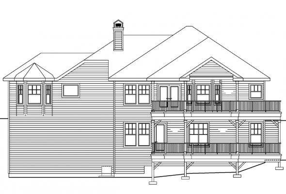 Sloping Lot House Plan - Lethbridge 30-586 - Rear Elevation