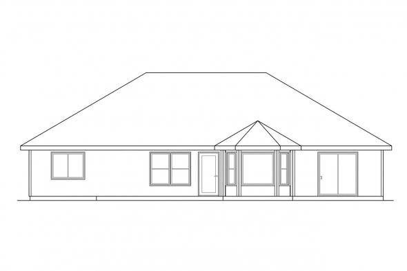 Small House Plan - Eldon 30-076 - Rear Elevation