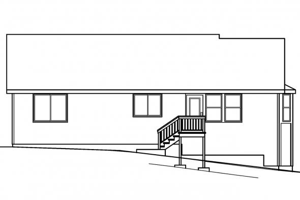 Small House Plan - Lander 30-225 - Rear Elevation