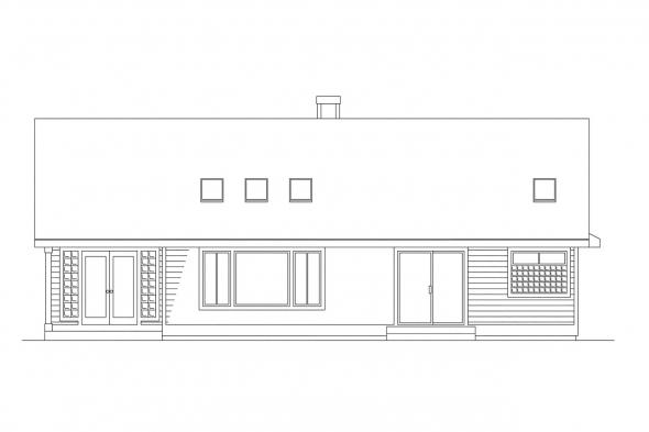 Small House Plan - Monroe 10-072 - Rear Elevation