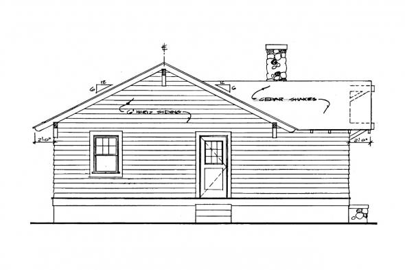 Small House Plan - Pinewald 41-014 - Rear Elevation