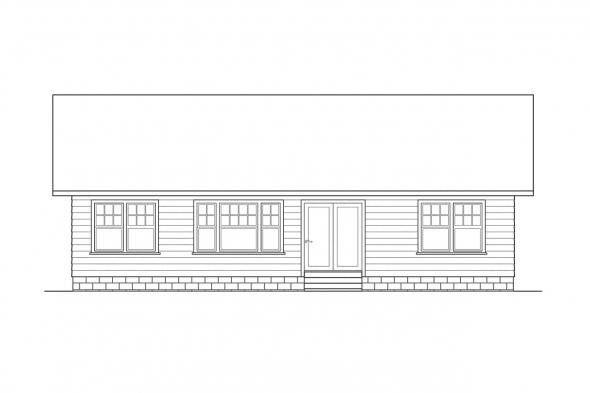 Small House Plan - Sandberg 30-083 - Rear Elevation