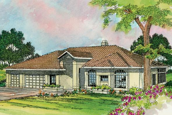 Southwest House Plan - Cibola 10-202 - Front Elevation