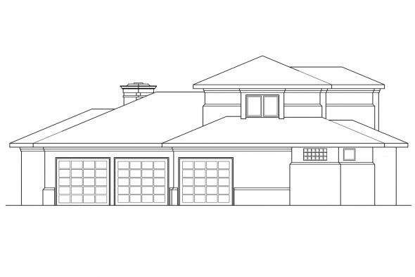 Southwest House Plan - Deveroux 10-354 - Left Elevation